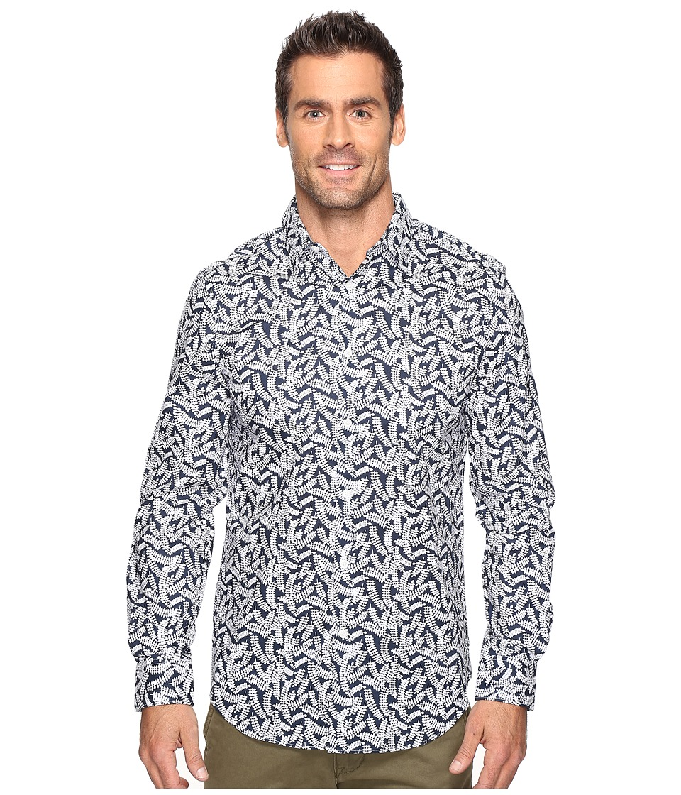 Perry Ellis - Leaf Print Design Shirt (Ink) Men's Clothing