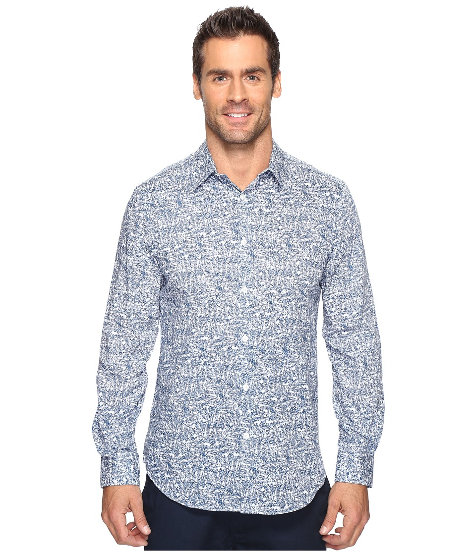 Perry Ellis - Linear Texture Print Shirt (Faience) Men's Clothing
