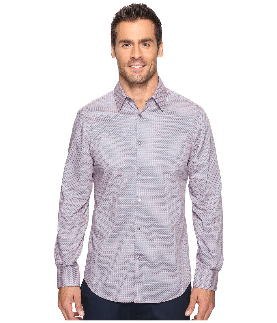 Perry Ellis - Regulat Fit Stretch Mini Paisley Shirt (Mineral Red) Men's Clothing