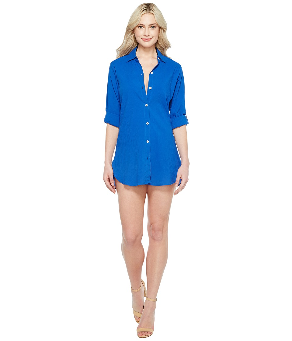 Tommy Bahama Crinkle Boyfriend Shirt Cover-Up (Old Royal) Women