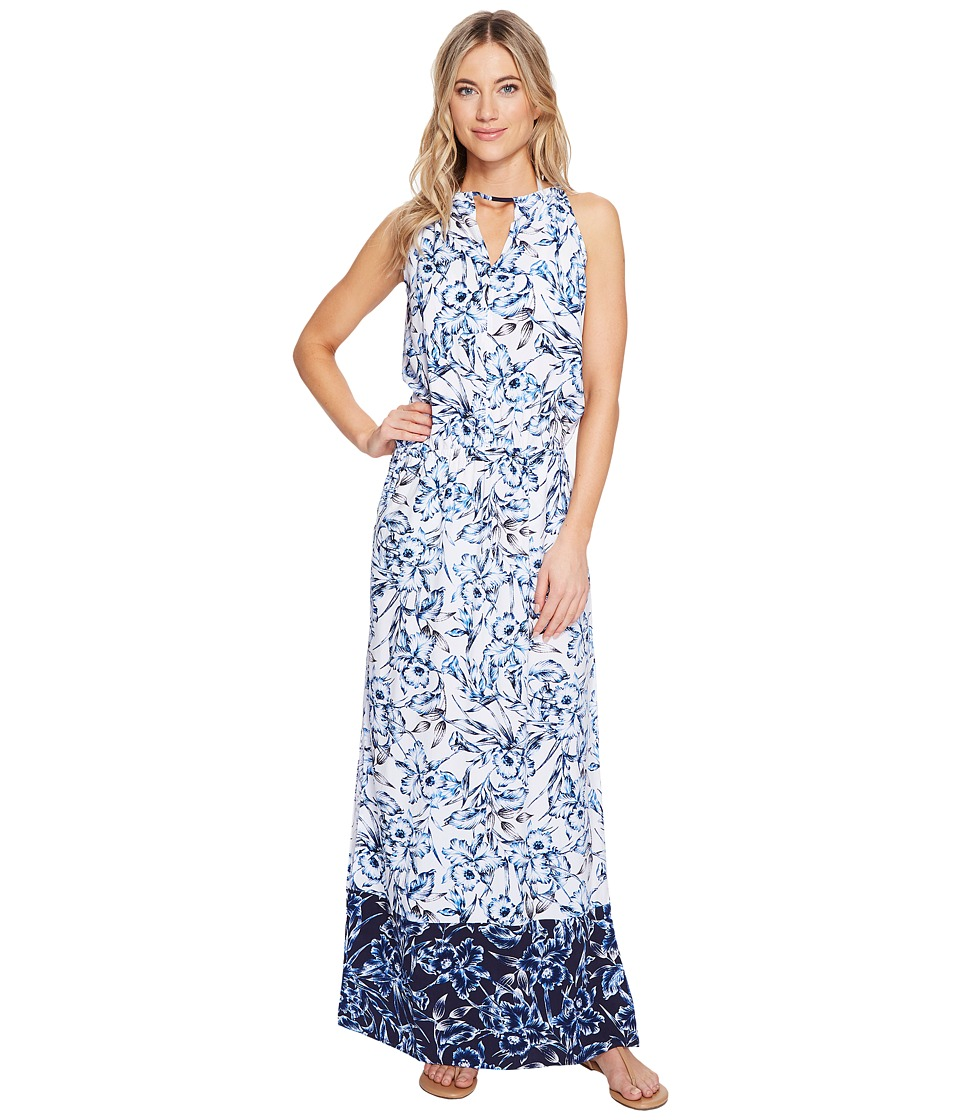 Tommy Bahama - Sketchbook Blossoms Maxi Dress Cover-Up (Mare Navy) Women's Swimwear