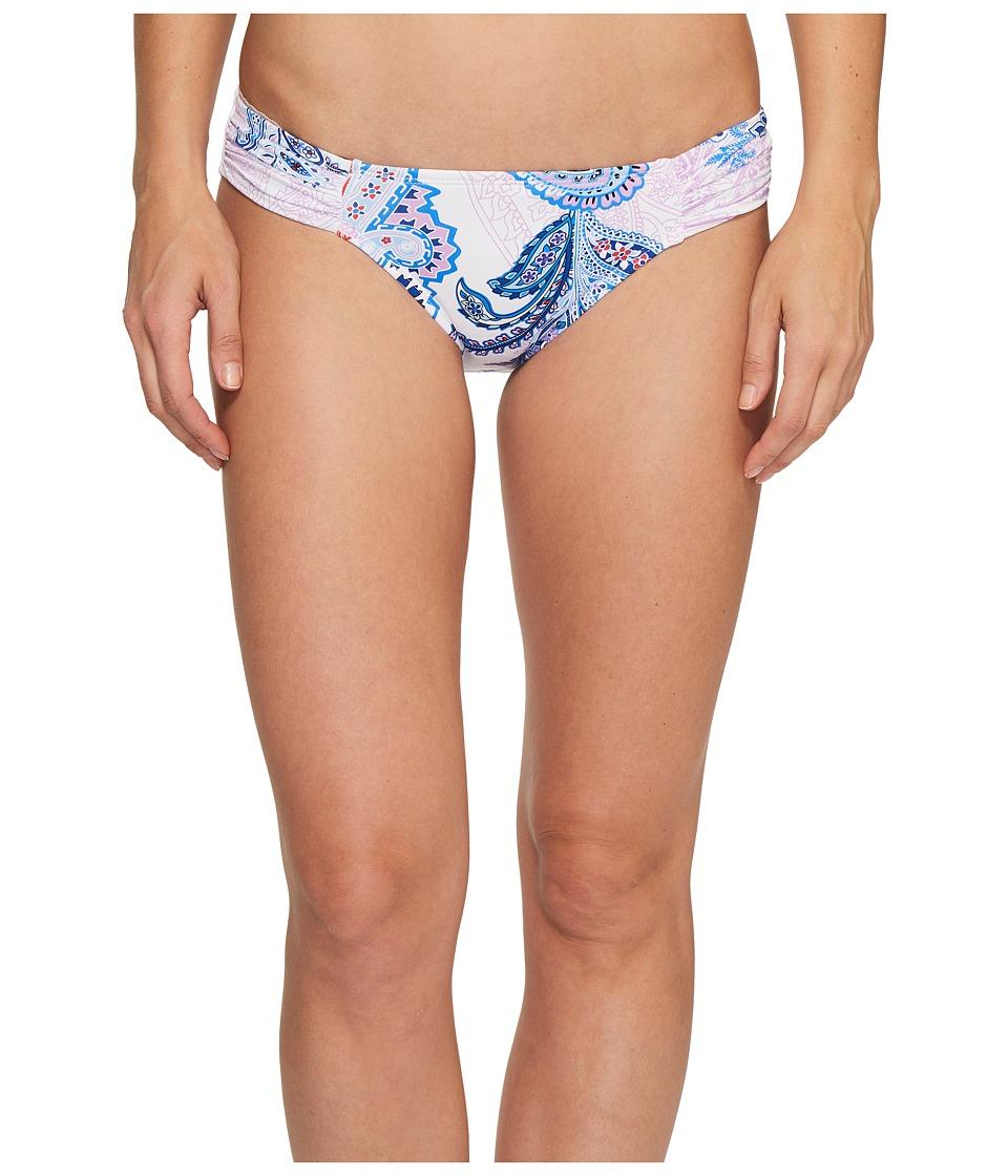 Tommy Bahama Paisley Leaves Side-Shirred Hipster Bikini Bottom (White) Women