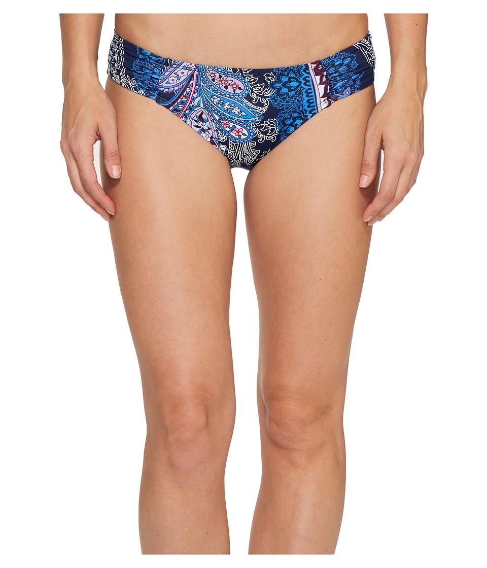 Tommy Bahama Paisley Leaves Side-Shirred Hipster Bikini Bottom (Mare Navy) Women