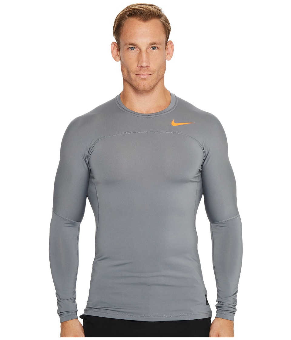 Nike Pro Hyperwarm Long Sleeve Top (Cool Grey/Hyper Crimson/Hyper Crimson) Men