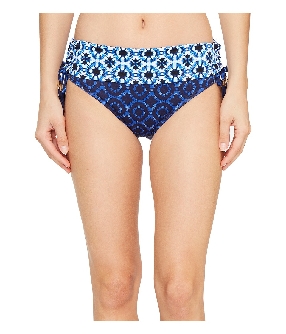 Tommy Bahama - Shibori Splash High-Waist Bikini Bottom With Tassels (Plunge Blue) Women's Swimwear