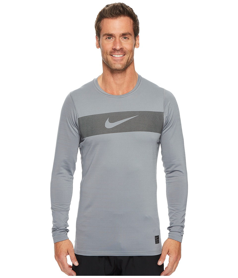 Nike Pro Warm Long Sleeve Training Top (Cool Grey/Hyper Crimson/Black) Men