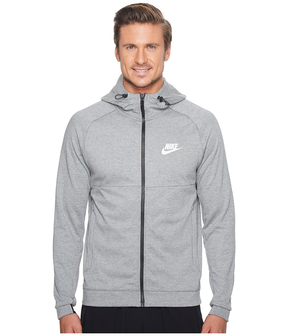 Nike Sportswear Advance 15 Full Zip Hoodie (Dark Grey Heather/Black/White) Men