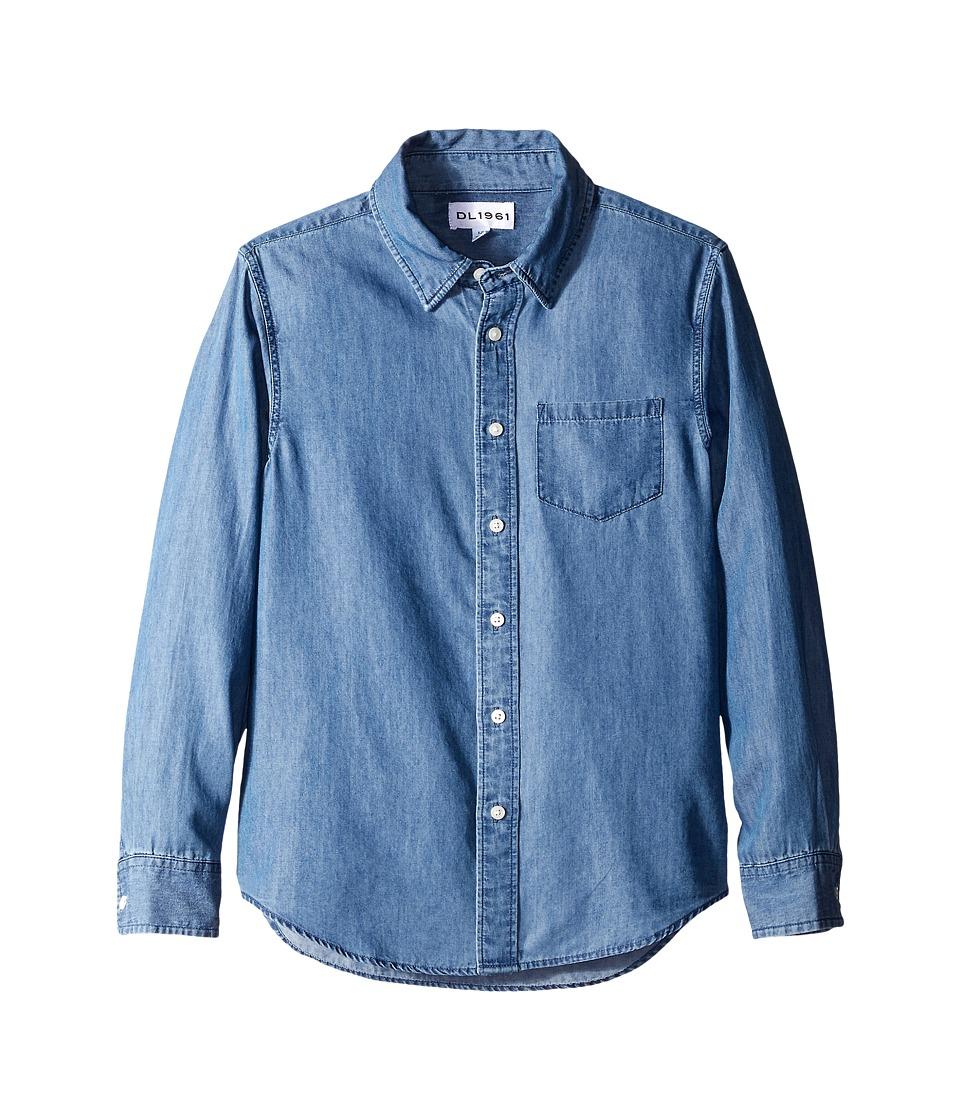 DL1961 Kids - Franklyn Chambray Shirt (Big Kids) (Dark Wash) Boy's Short Sleeve Button Up