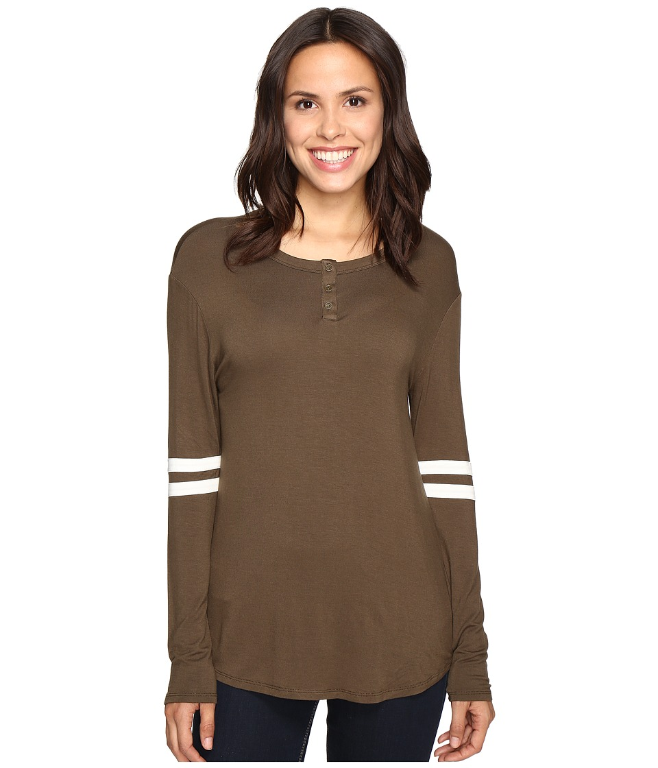 Culture Phit Braylin Long Sleeve Top (White/Olive) Women's Clothing