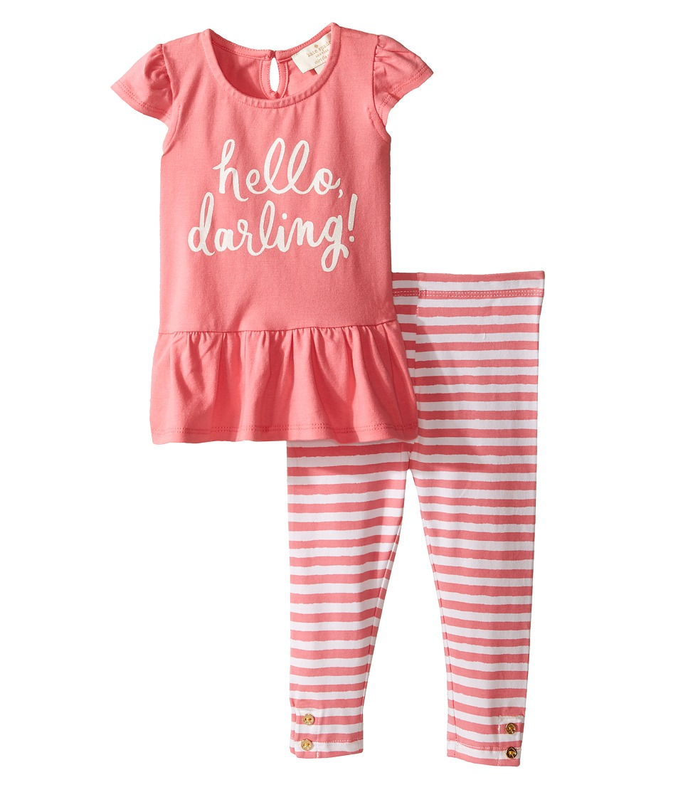 Kate Spade New York Kids - Hello Darling Leggings Set (Infant) (Berber Pink/Cream) Girl's Active Sets