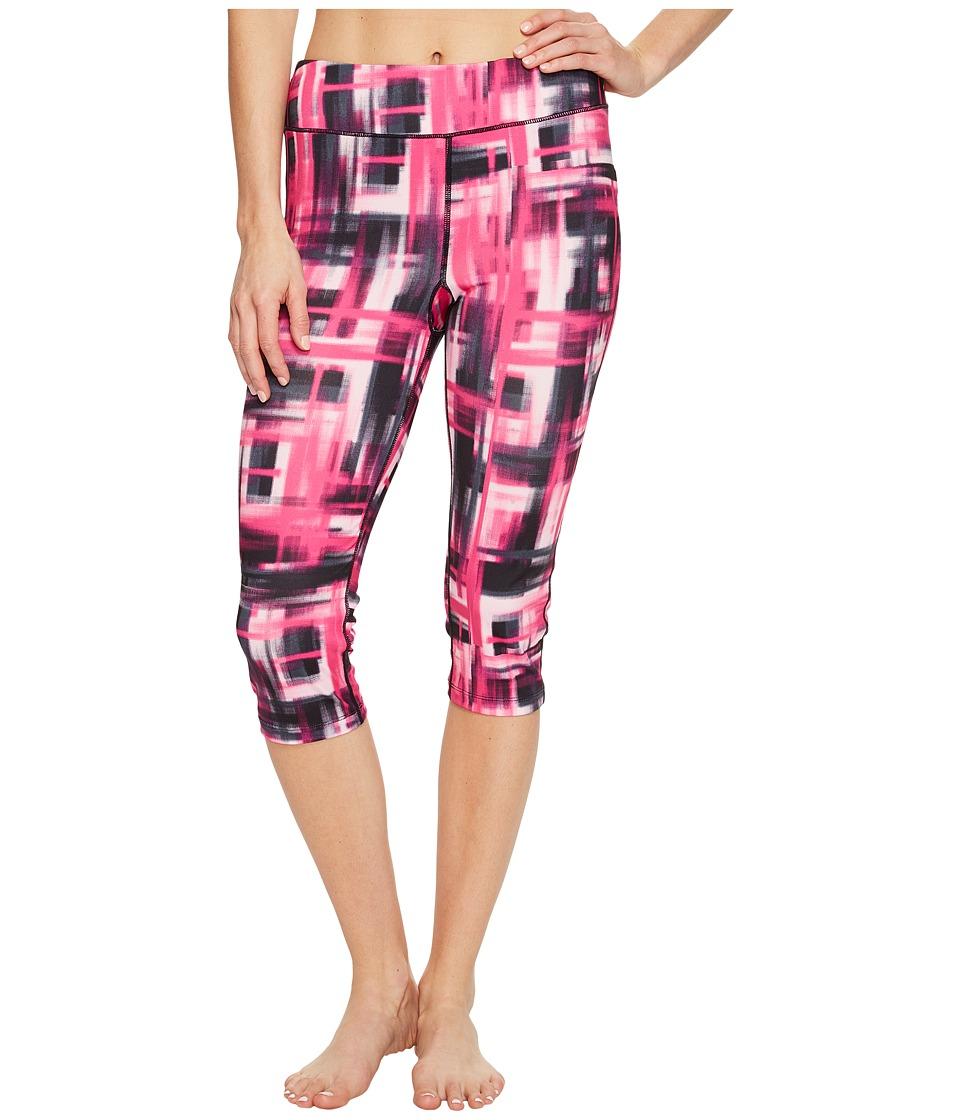 Fila - Pretty Printed Capris (Pink Blur Plaid Print) Women's Capri