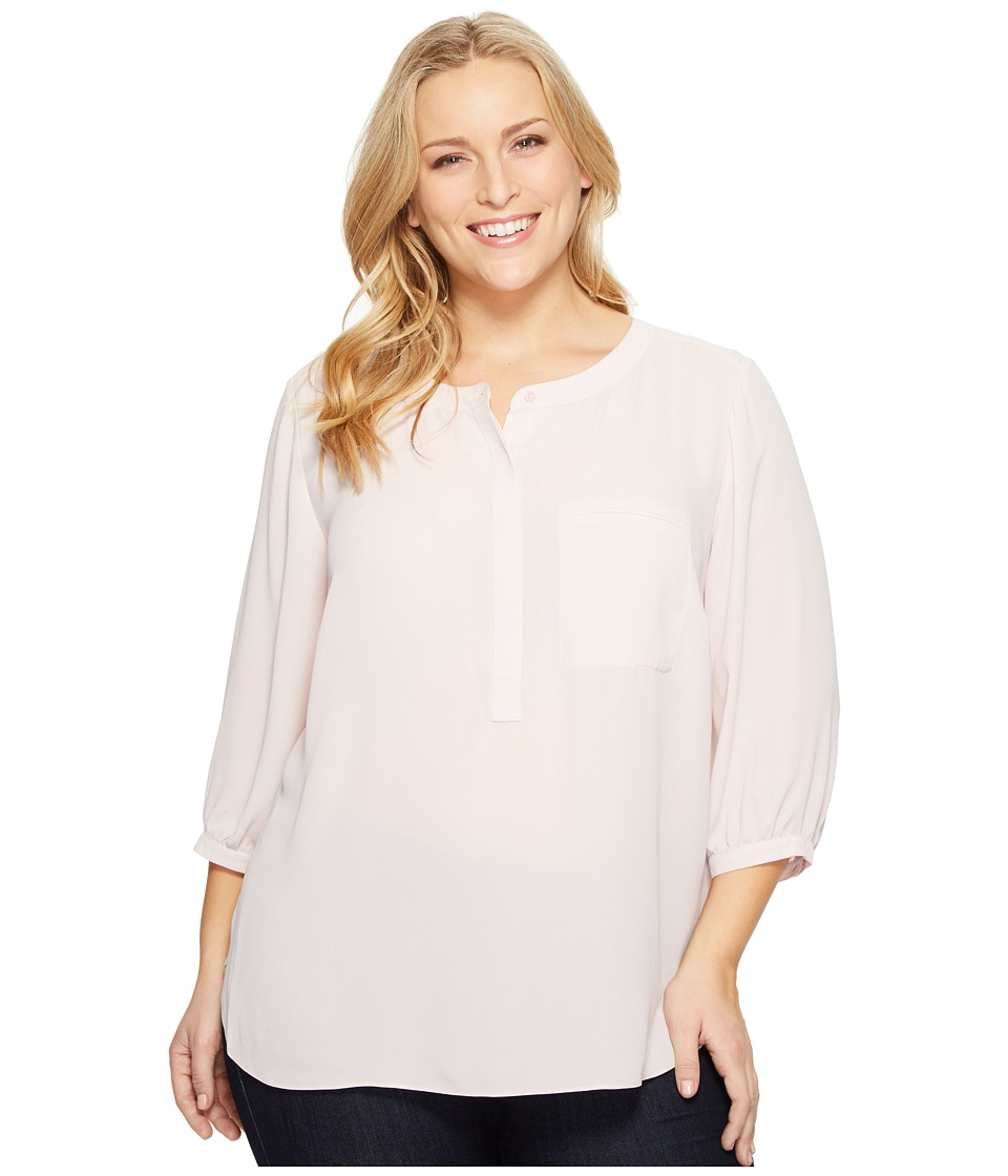 NYDJ Plus Size - Plus Size Solid 3/4 Sleeve Pleat Back (Pink Cameo) Women's Long Sleeve Button Up