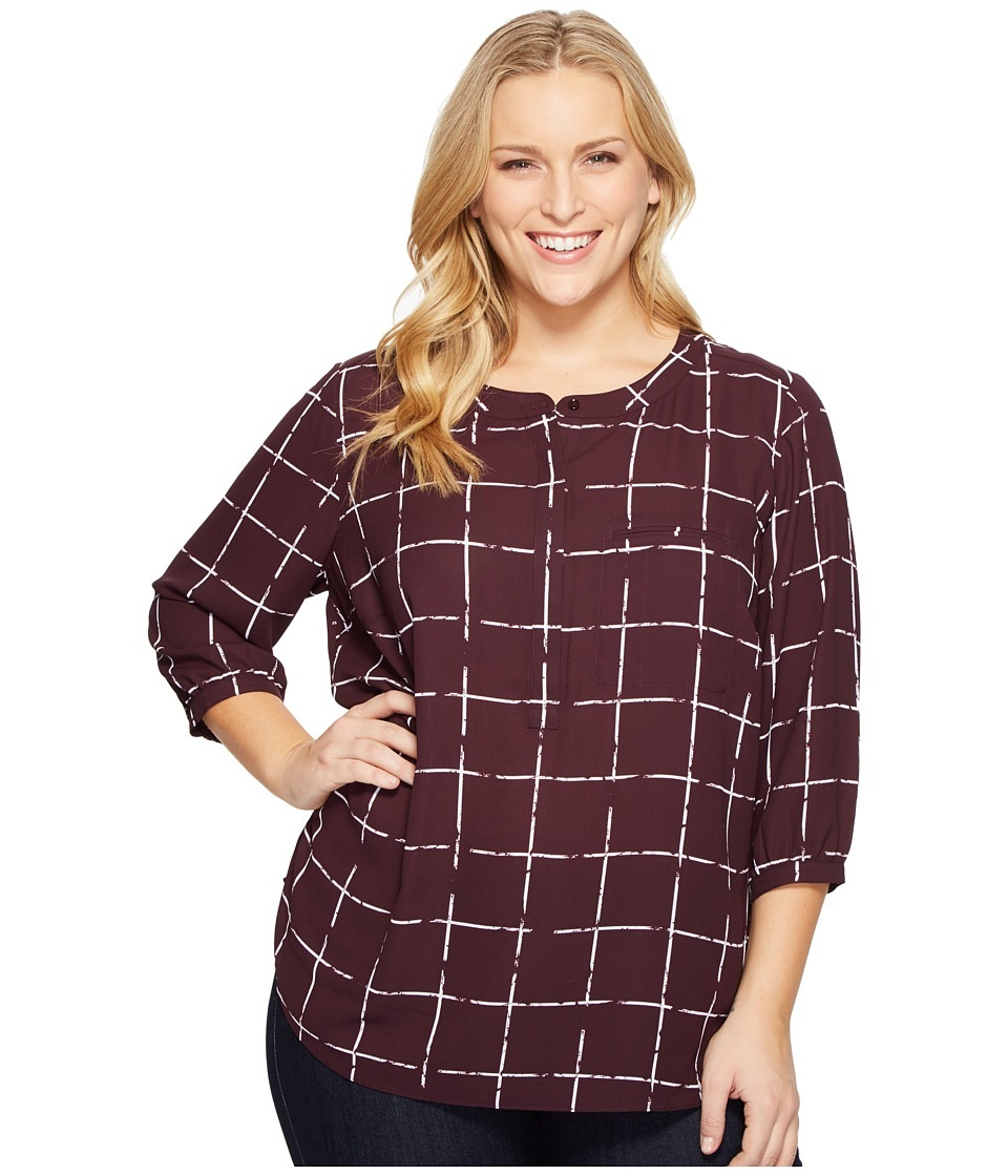 NYDJ Plus Size - Plus Size Solid 3/4 Sleeve Pleat Back (Frosted Windowpanes) Women's Long Sleeve Button Up