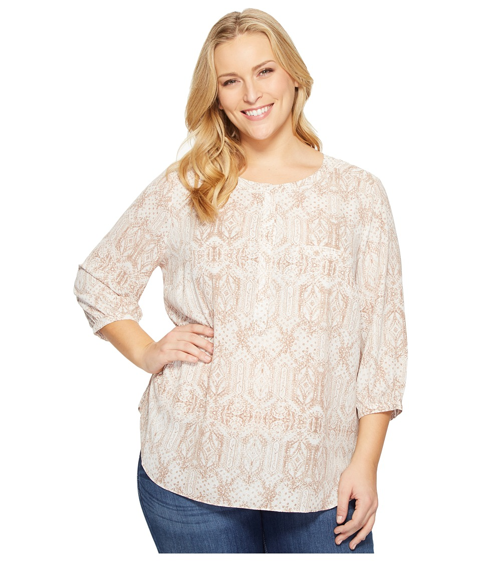 NYDJ Plus Size - Plus Size Solid 3/4 Sleeve Pleat Back (Copehagen Lace) Women's Long Sleeve Button Up
