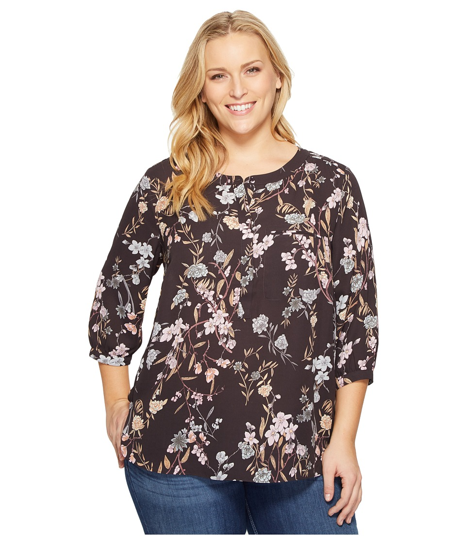 NYDJ Plus Size - Plus Size Solid 3/4 Sleeve Pleat Back (Stockholm Meadow) Women's Long Sleeve Button Up