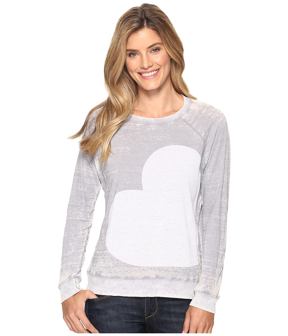 Allen Allen - Side Heart Print Sweatshirt (Pale Grey) Women's Sweatshirt