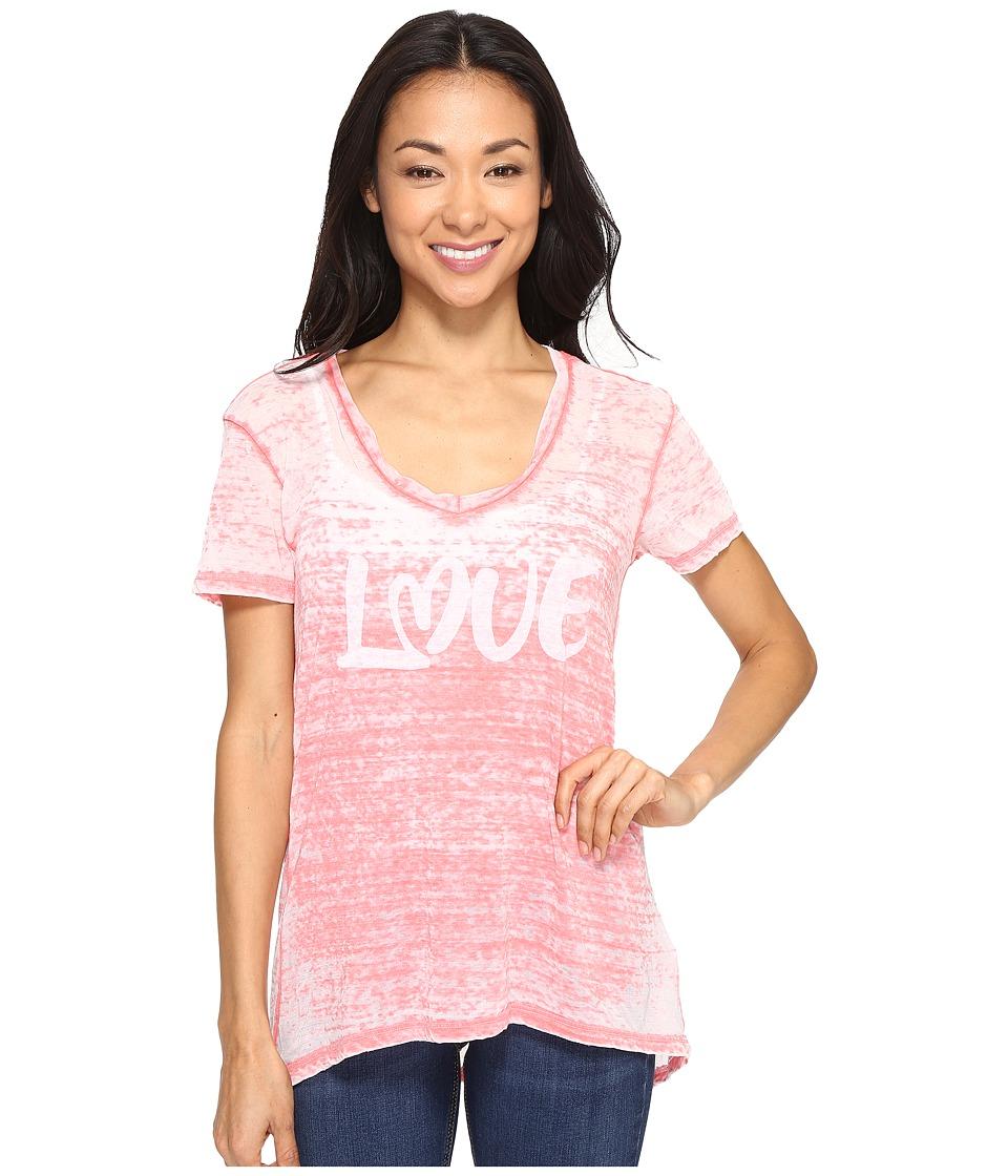 Allen Allen - Love Print High-Low Tee (Begonia) Women's T Shirt