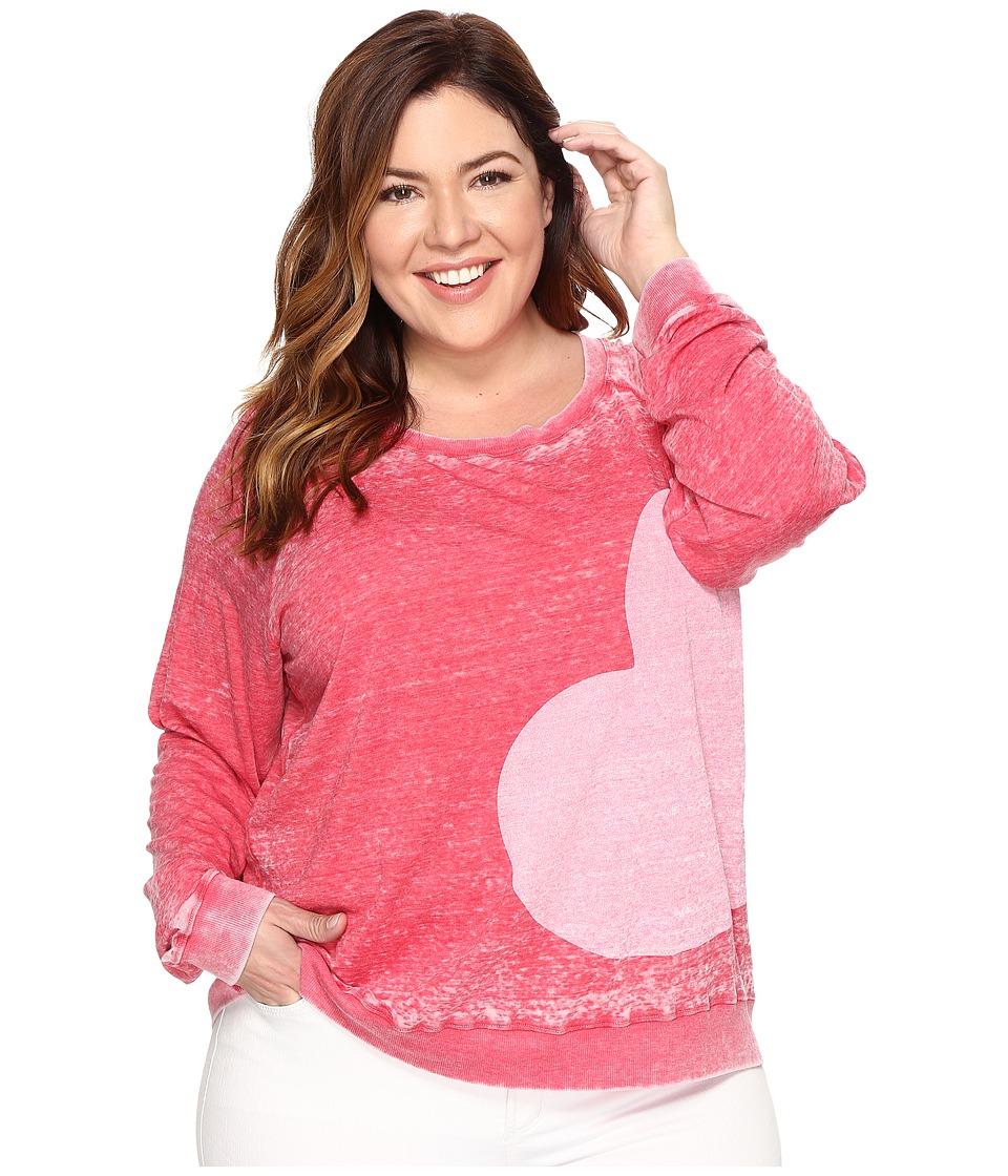 Allen Allen - Plus Size Side Heart Print Sweatshirt (Modern Red) Women's Sweatshirt