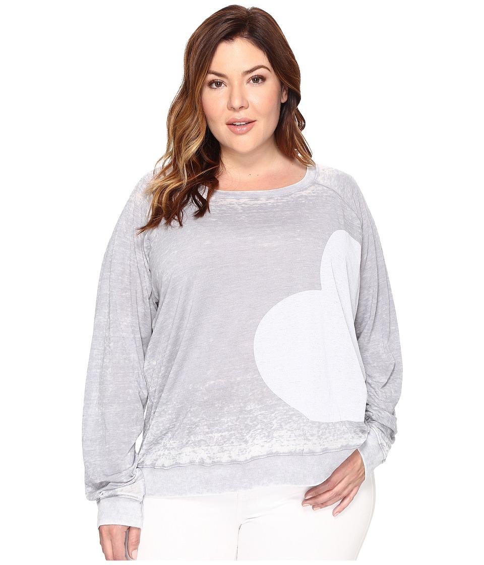Allen Allen Plus Size Side Heart Print Sweatshirt (Pale Grey) Women
