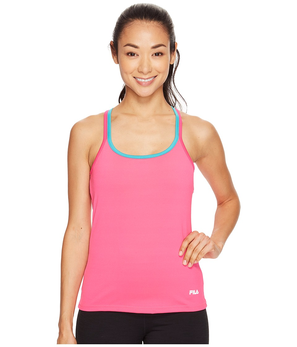 Fila - Obstacle Course Tank Top (Pink Glo/Veridian Green) Women's Sleeveless