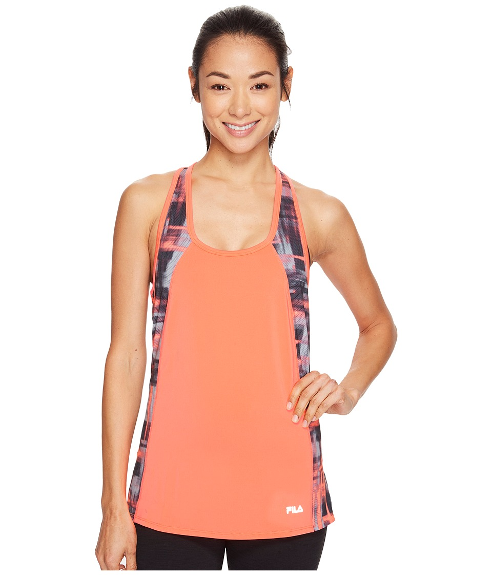 Fila - Going Out Singlet (Bursting Marmalade/Blur Plaid) Women's Sleeveless