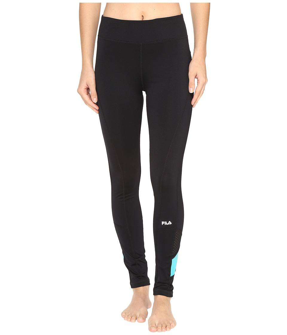 Fila - Crisscross Long Tights (Black/Viridian Green) Women's Casual Pants