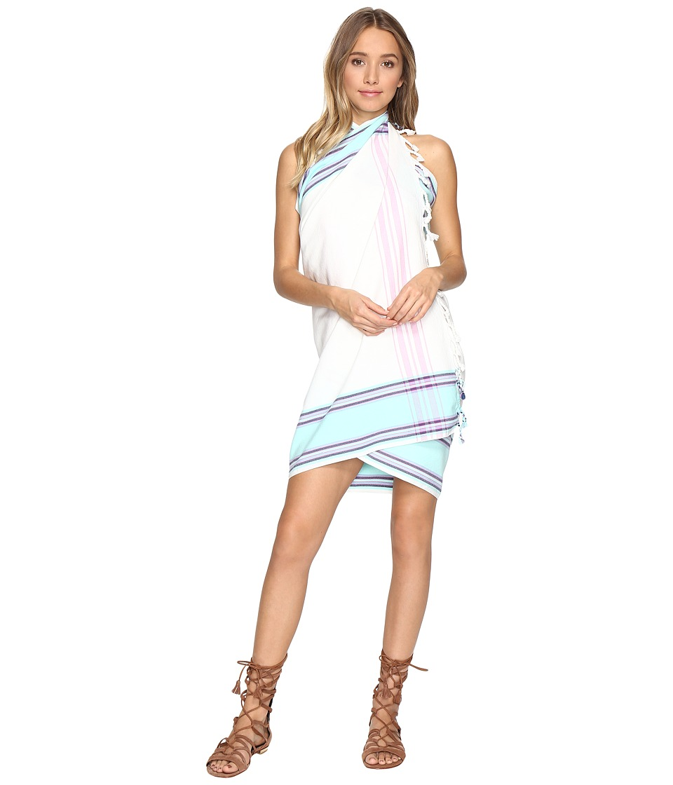 Plush - Woven Beach Blanket Wrap (White/Turquoise/Pink) Scarves