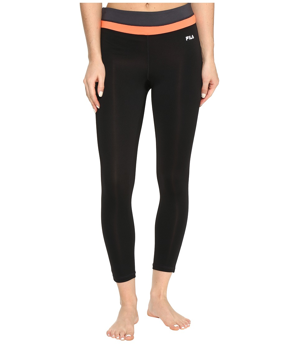 Fila - Get Up and Go 3/4 Tights (Black/Bursting Marmalade/Ebony) Women's Casual Pants