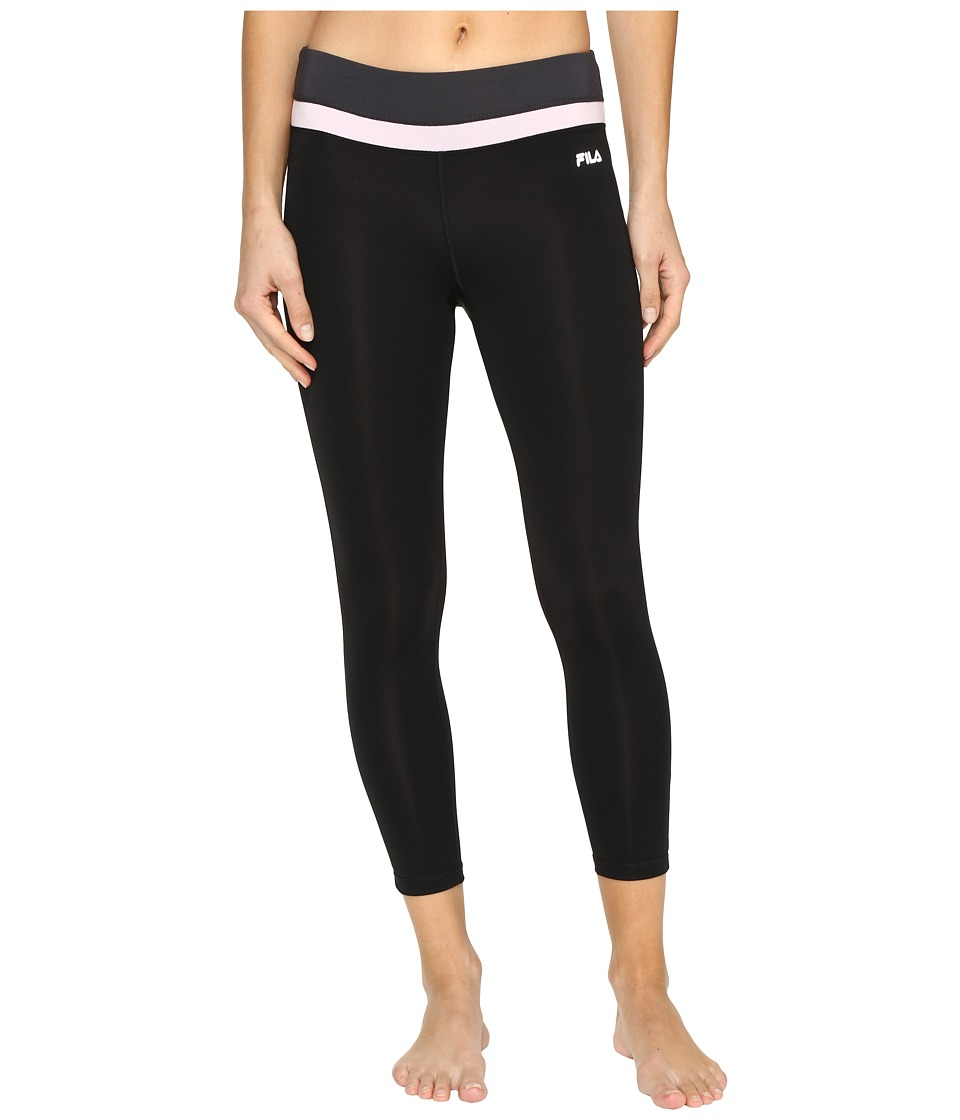 Fila - Get Up and Go 3/4 Tights (Black/Ballet Pink/Ebony) Women's Casual Pants