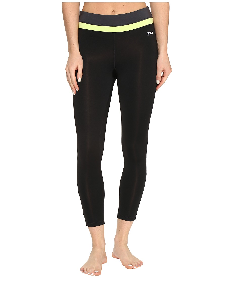 Fila - Get Up and Go 3/4 Tights (Black/Sharp Green/Ebony) Women's Casual Pants