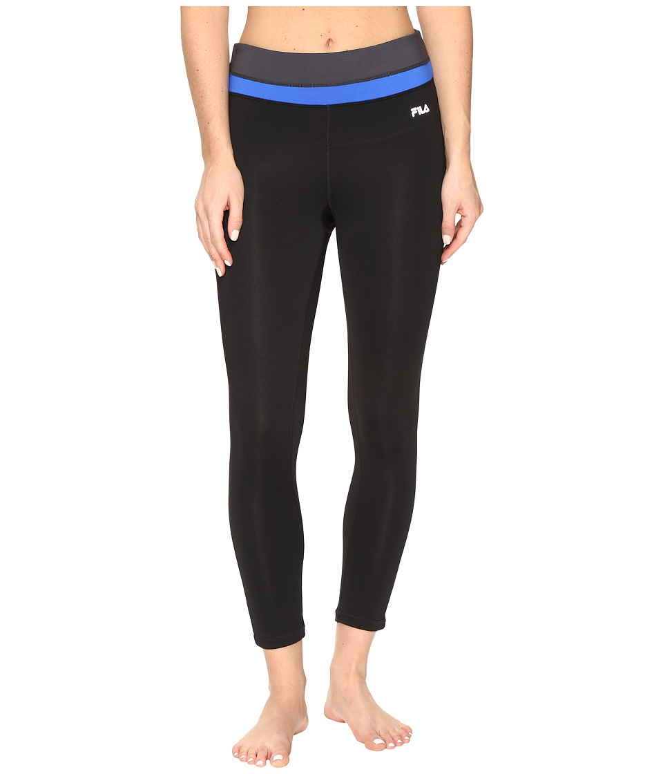 Fila - Get Up and Go 3/4 Tights (Black/Blue Fish/Ebony) Women's Casual Pants