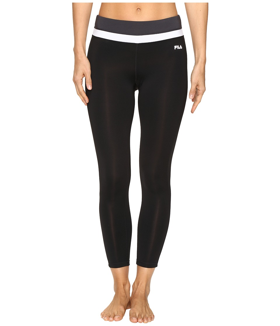 Fila - Get Up and Go 3/4 Tights (Black/White/Ebony) Women's Casual Pants