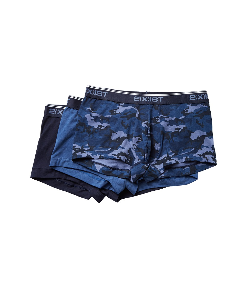 2(X)IST - Stretch 3 Pack No Show Trunk (Blue Camo/Sky/Sea) Men's Underwear