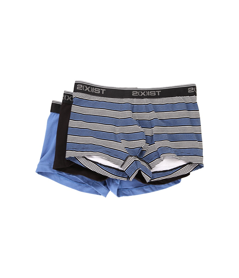 2(X)IST - Stretch 3 Pack No Show Trunk (Multi Stripe/Black/Black/Blue) Men's Underwear
