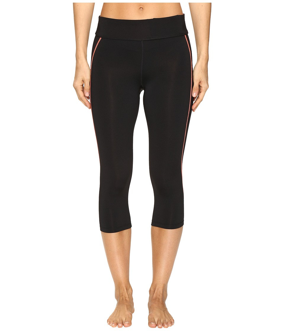 Fila - Spirit Tight Capris (Black/Bursting Marmalade) Women's Casual Pants