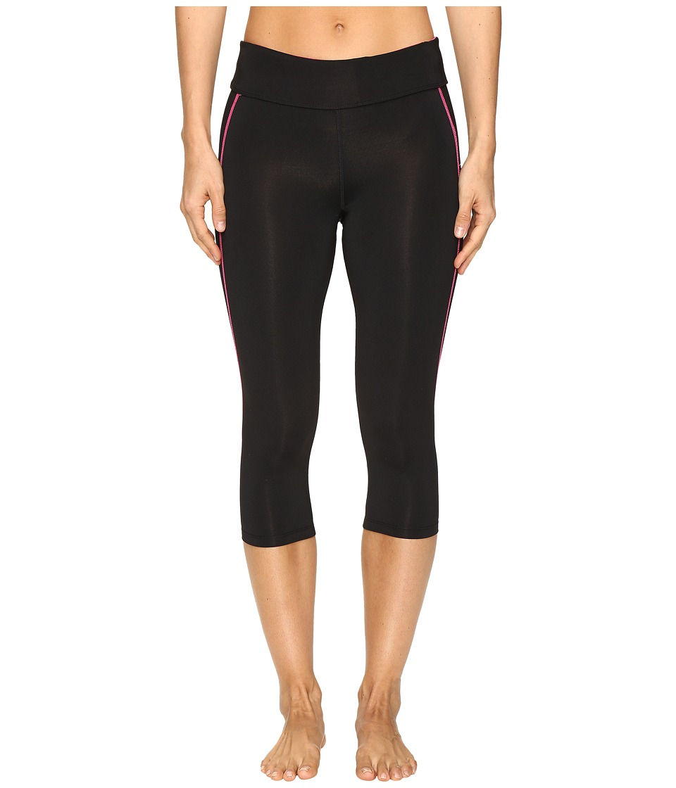 Fila - Spirit Tight Capris (Black/Pink Glo) Women's Casual Pants