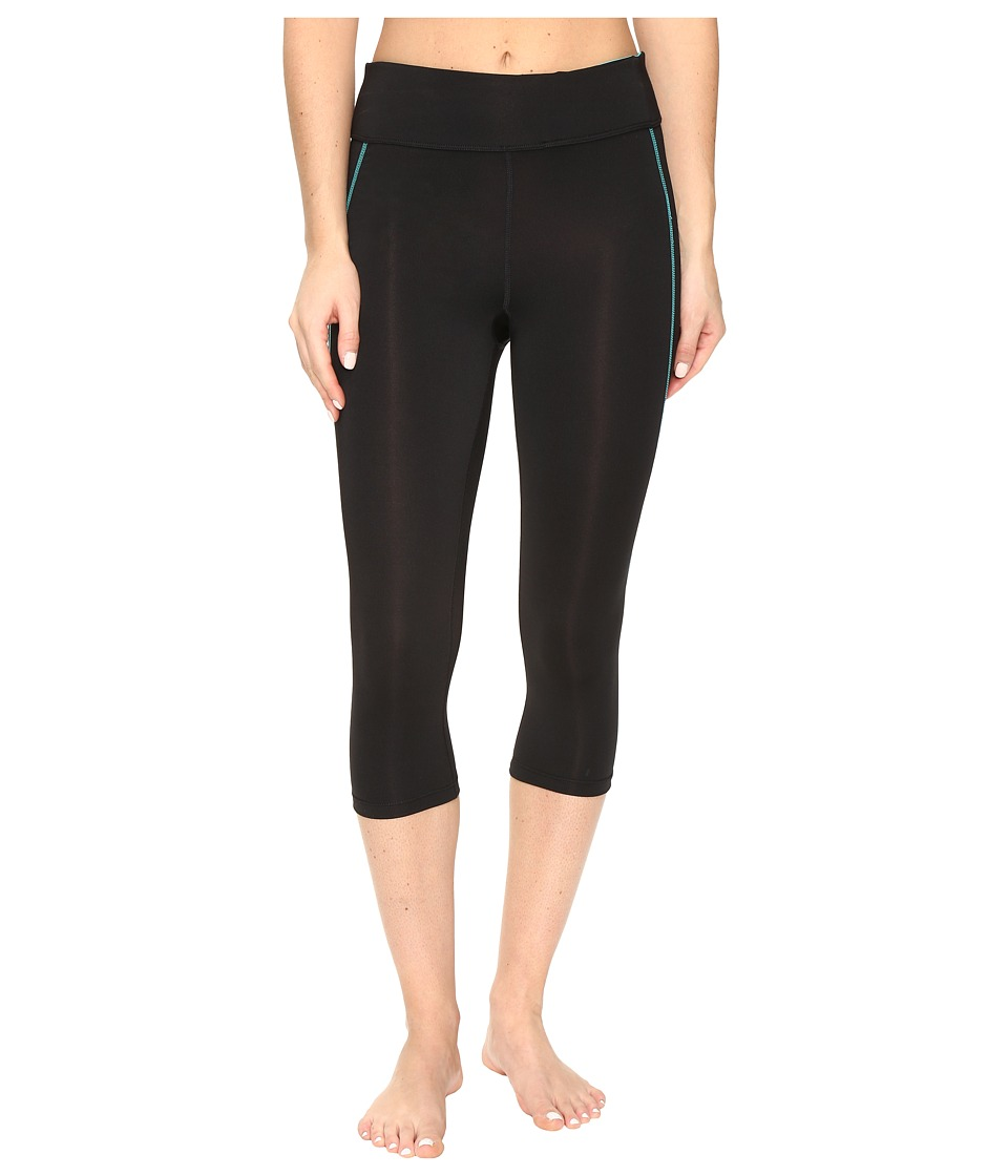 Fila - Spirit Tight Capris (Black/Viridian Green) Women's Casual Pants