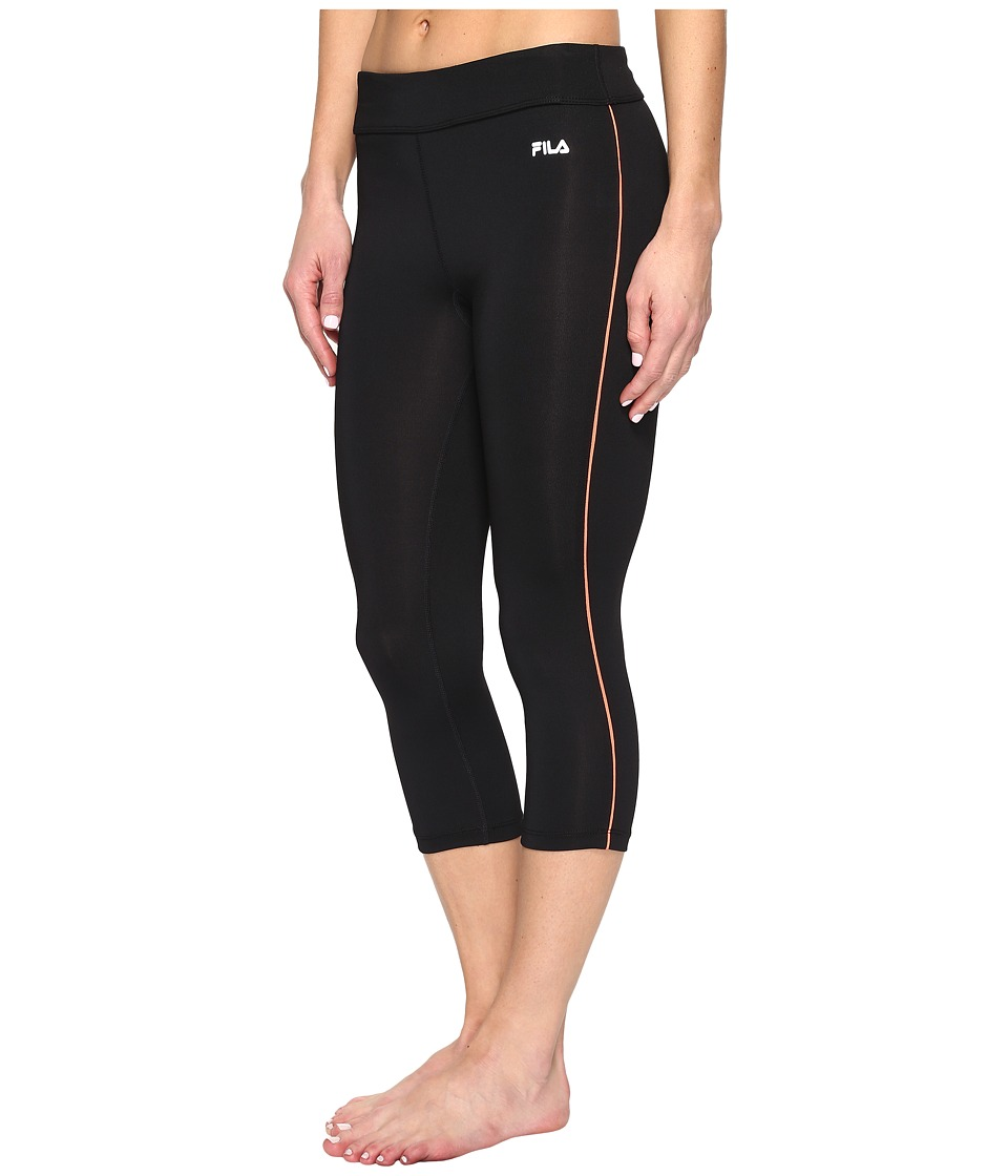 Fila - Energy Tight Capris (Black/Bursting Marmalade) Women's Capri