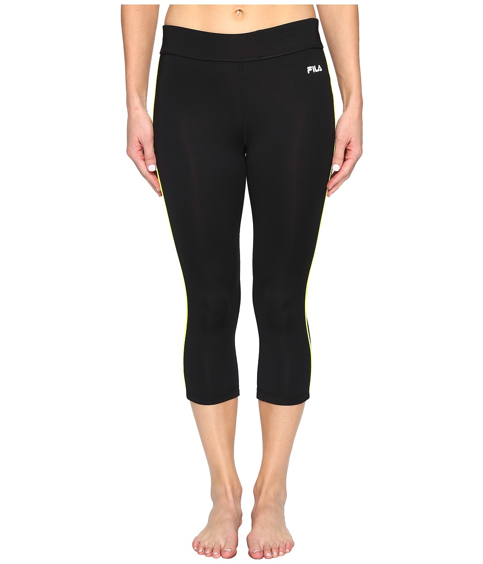 Fila - Energy Tight Capris (Black/Safety Yellow) Women's Capri