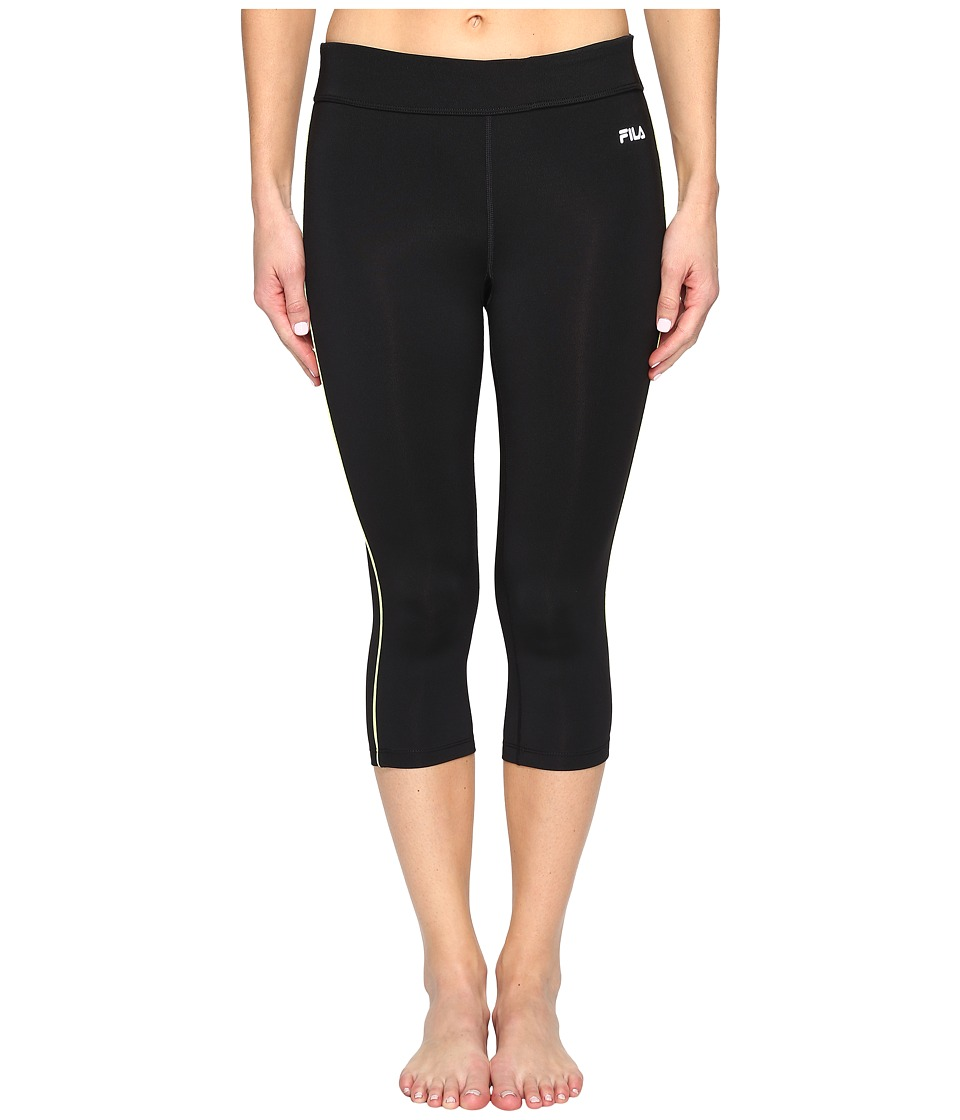 Fila Energy Tight Capris (Black/Sharp Green) Women
