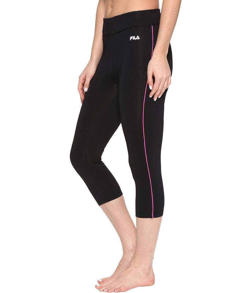 Fila - Energy Tight Capris (Black/Pink Glo) Women's Capri