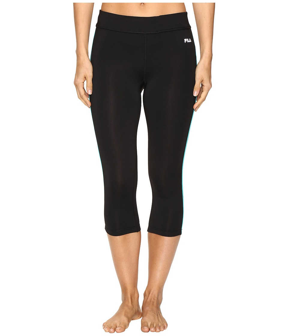 Fila - Energy Tight Capris (Black/Viridian Green) Women's Capri