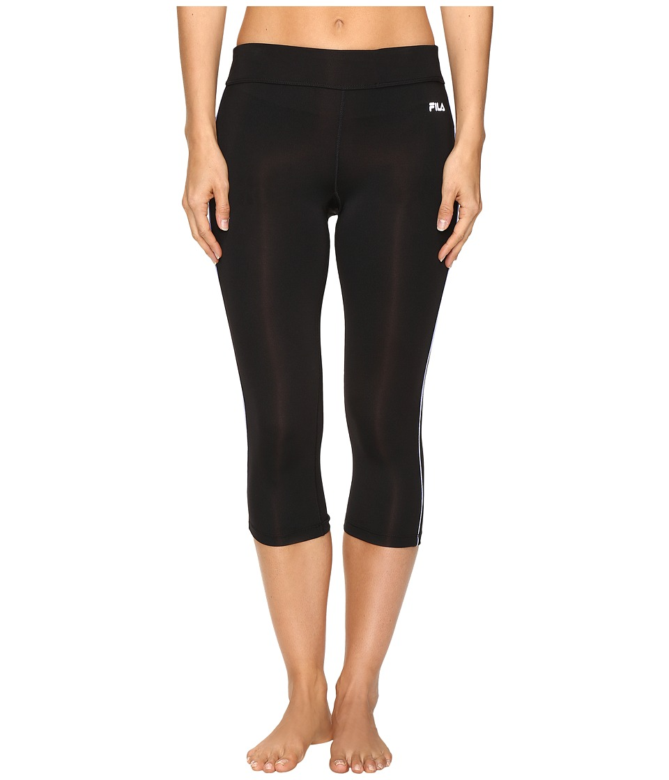Fila - Energy Tight Capris (Black/Deep Periwinkle) Women's Capri