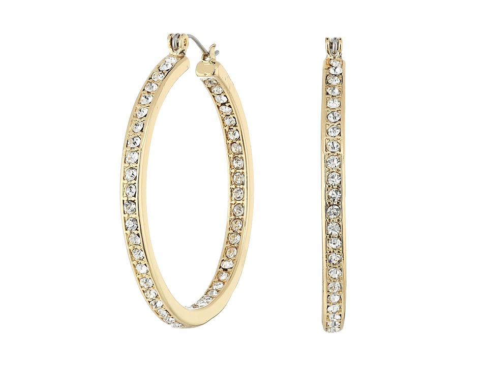 Steve Madden - Rhinestone Hoop Earrings (Gold) Earring