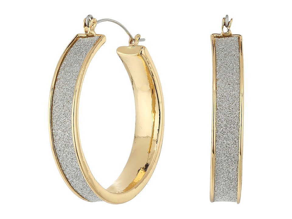 Steve Madden - Glitter Hoop Earrings (Gold) Earring