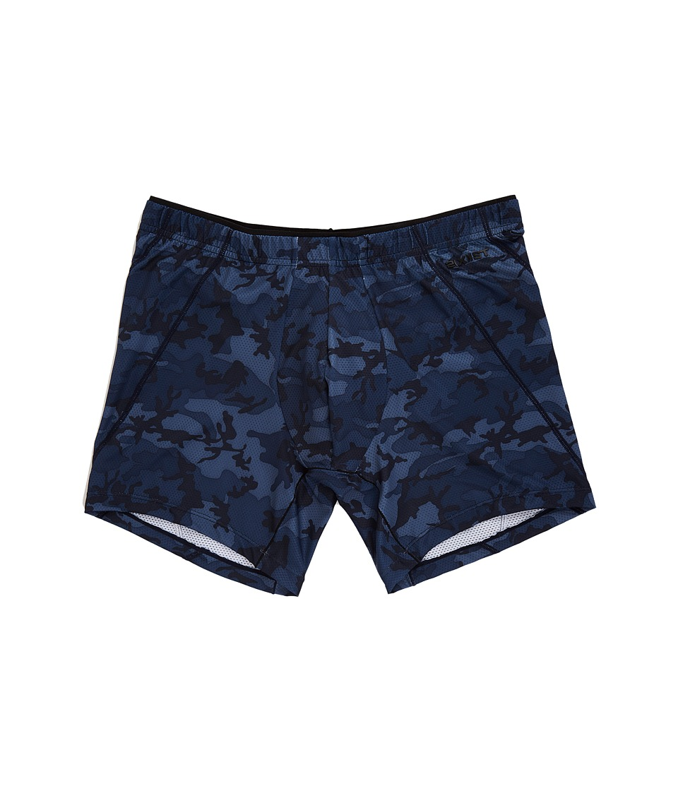 2(X)IST - Tech Micro Mesh No Show Boxer Brief (Blue Camo) Men's Underwear
