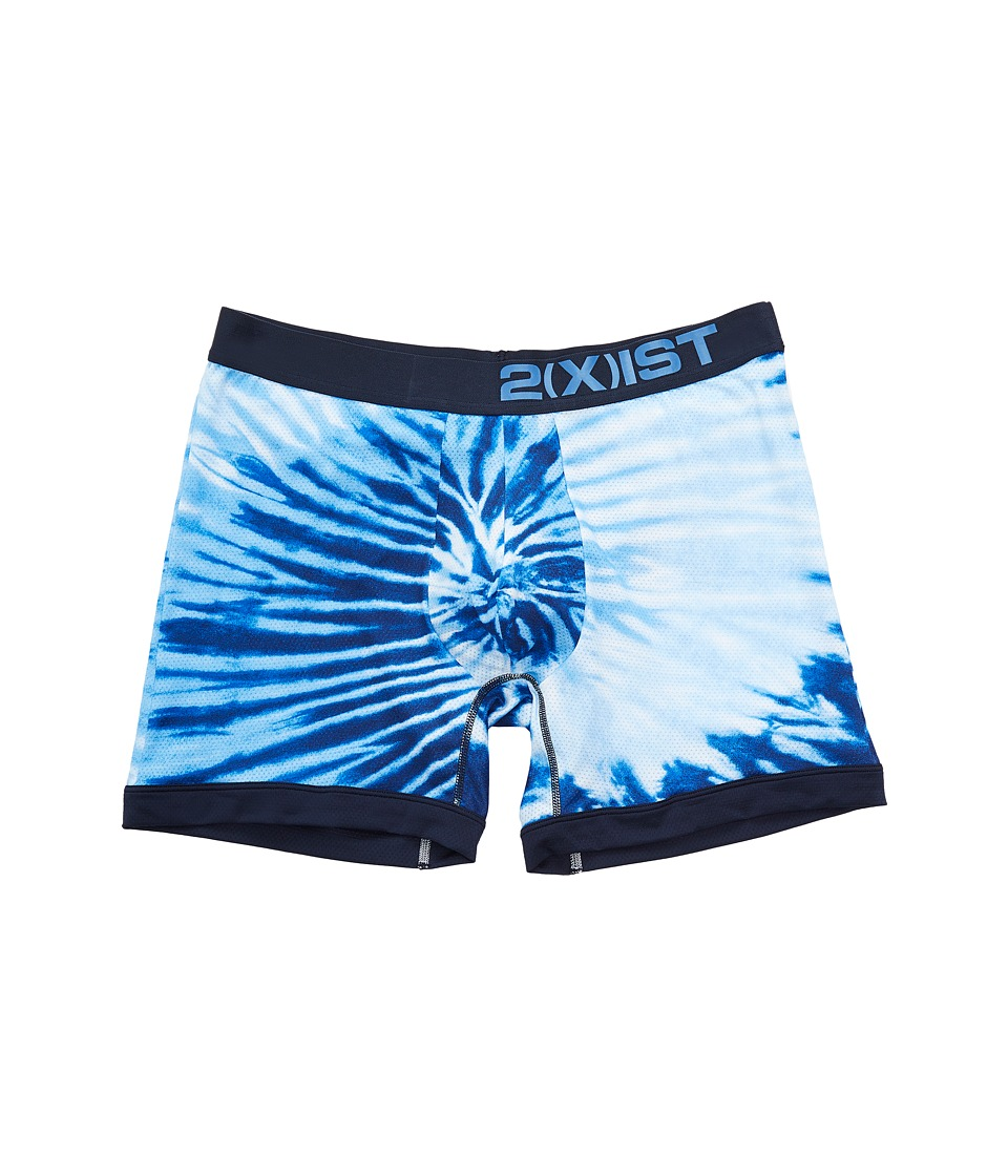 2(X)IST - Sliq Micro Mesh Sliq Sport Boxer Brief (Tie-Dye/Indigo) Men's Underwear