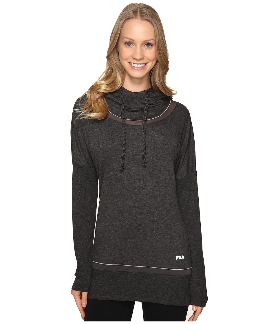 Fila - Lux Yoga Pullover (Black Heather/Varsity Heather) Women's Long Sleeve Pullover