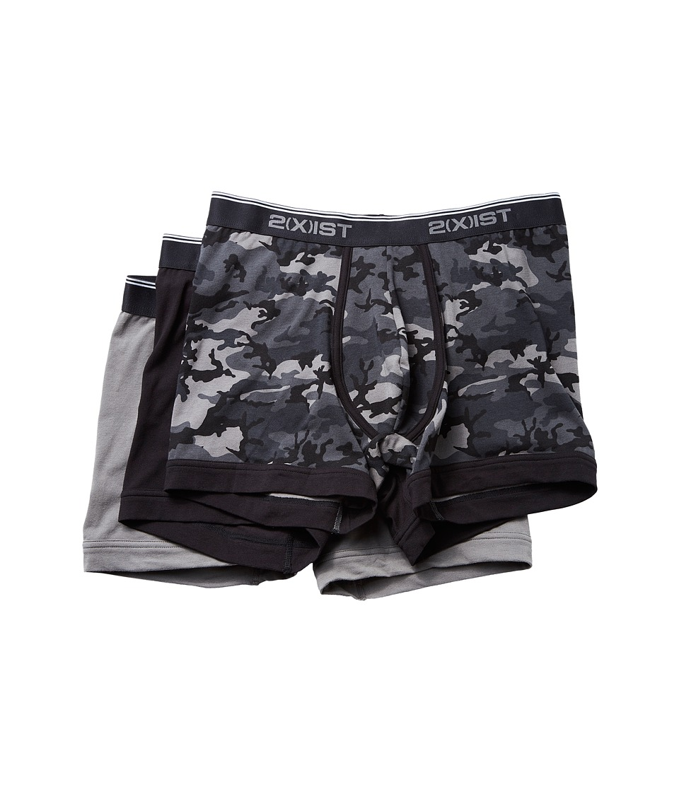 2(X)IST - Stretch 3 Pack Boxer Brief (Black Camo/Black/Grey) Men's Underwear