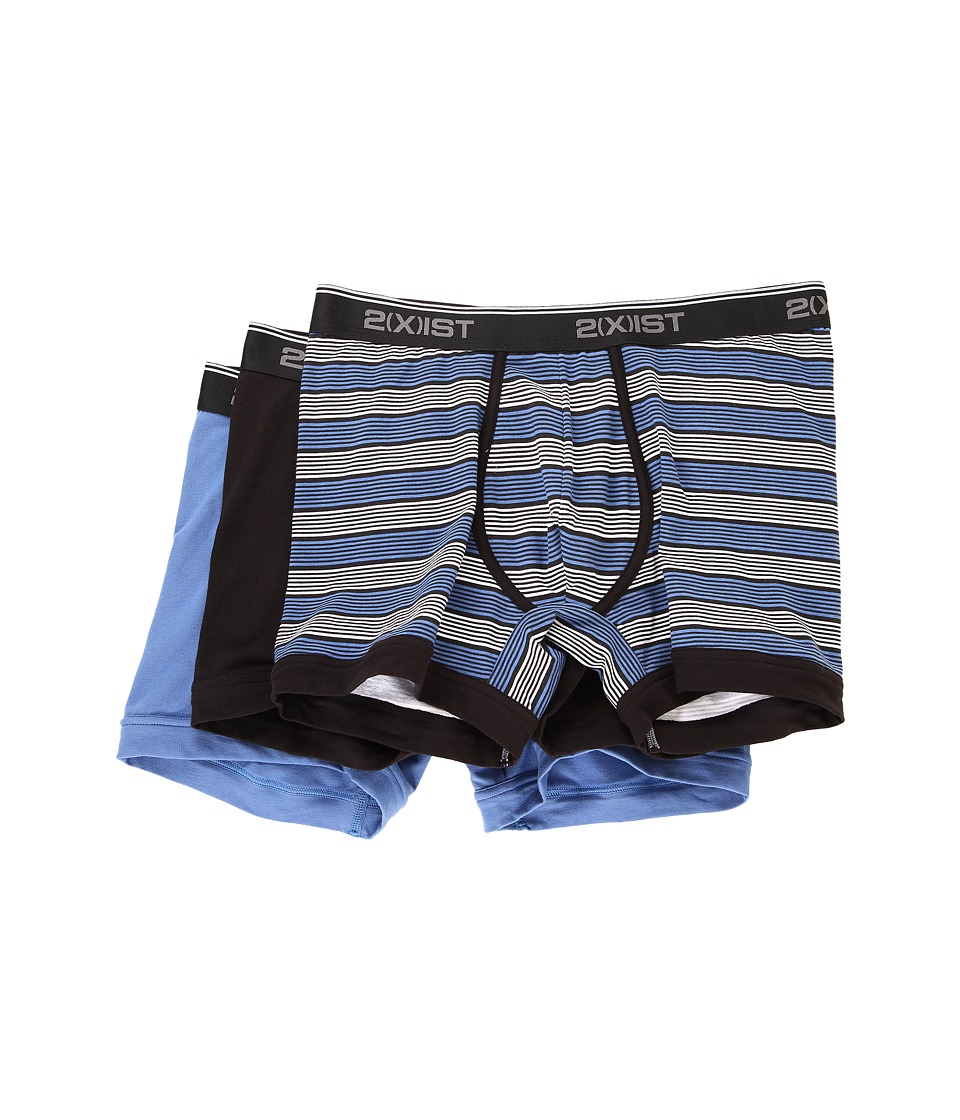 2(X)IST - Stretch 3 Pack Boxer Brief (Multi Stripe/Black/Black/Blue) Men's Underwear